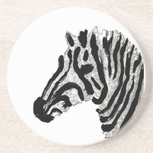 Black and White Stripes Animal Print Zebra Drink Coaster