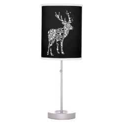 Black and White Stylish Stag Deer Lacy Silhouettes Lamps