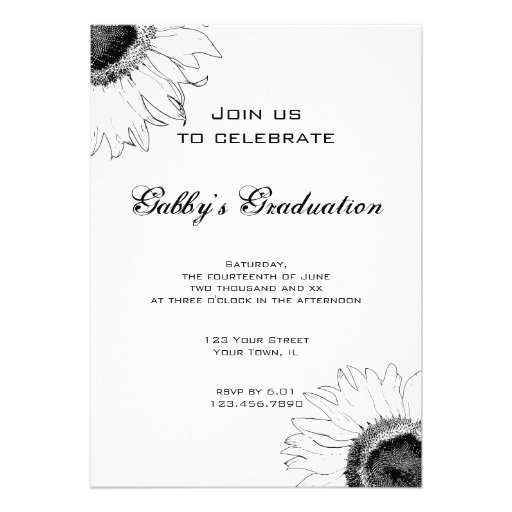 Black and White Sunflower Graduation Party Invite 5
