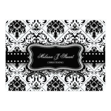 Black and White Vintage Damask Christening Invitation