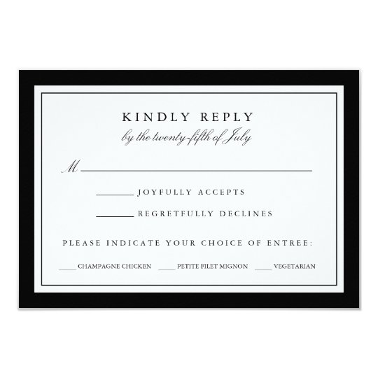 Black And White Wedding Rsvp Card W Meal Choice