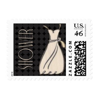 Black and White Wedding Shower Postage