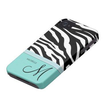 Black and White Zebra Patterns on Aqua Blue iPhone 4 Case
