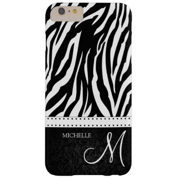 Black and White Zebra stripes with monogram Barely There iPhone 6 Plus Case