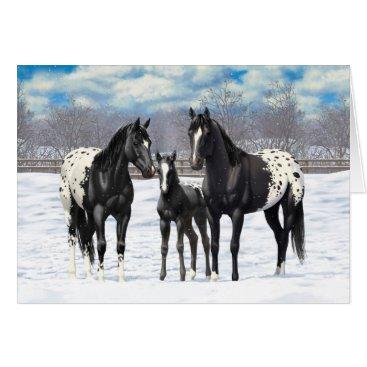 Black Appaloosa Horses In Snow Card