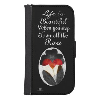 Black Art Flowers Life Is Beautiful Galaxy S4 Wallets