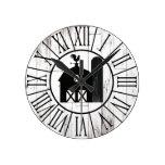 Black Barn Vintage White Wood Country Farmhouse Round Clock
