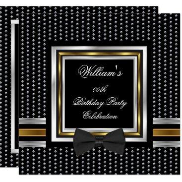 Black Bowtie Gold Silver Studs Birthday Party Invitation
