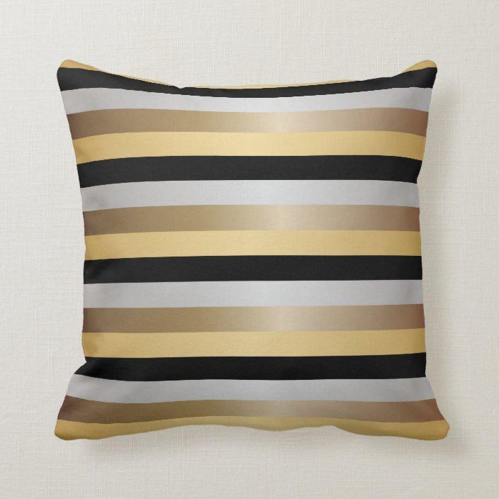 black bronze silver and gold stripes throw pillow zazzle com