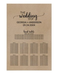 also black calligraphy head table wedding seating chart zazzle rh
