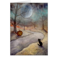 Black Cat and Jack-o-Lantern Fantasy Art Cards