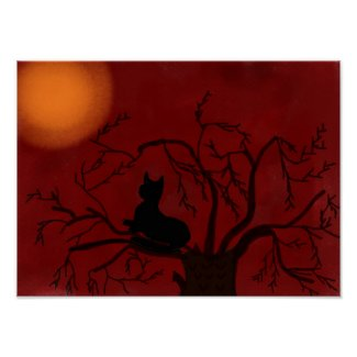 Black Cat, Red Sky Poster