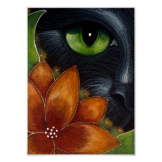 Green-Eyed Black Cat Poster