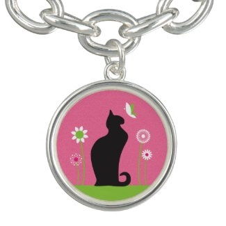 Black Cat with Flowers Charm Bracelet