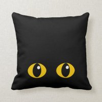 Black cat face cushion throw pillow | Zazzle
