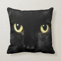 Black Cat Face Design Throw Pillow Home Decor | Zazzle