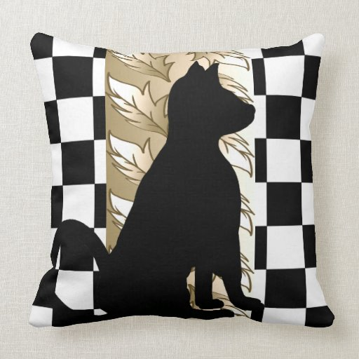 Black Cat Gold Leaves Checkerboard CricketDiane Pillow