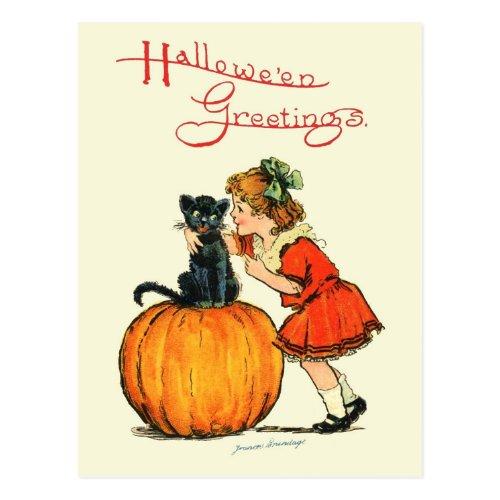 Black Cat on a Pumpkin Postcard