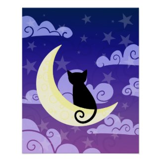 Black Cat on the Moon Poster