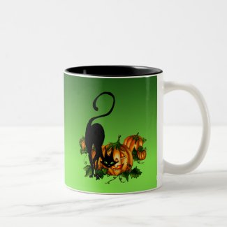 Black Cat in Pumpkin Patch Mug