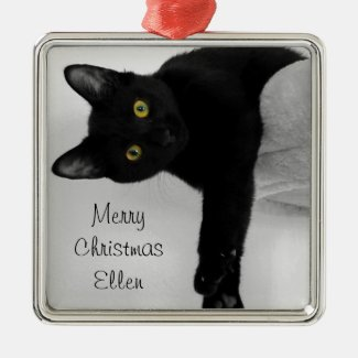 *Custom Name* Black Kitten Ornament