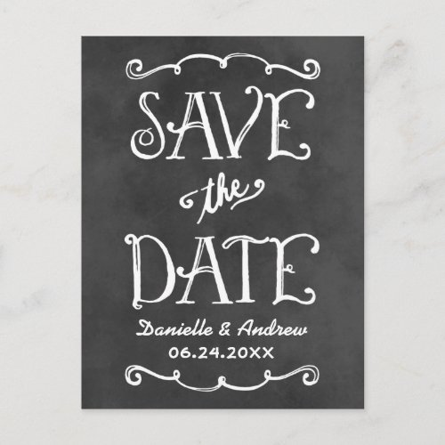 Black Chalkboard Charm | Wedding Save the Date Announcement Postcard