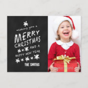 BLACK CHALKBOARD CHRISTMAS PHOTO POSTCARD
