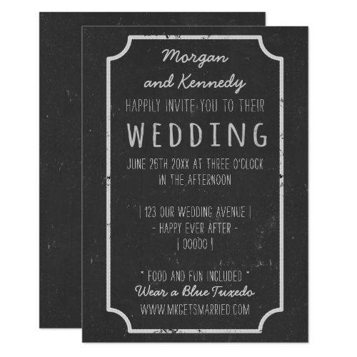 Black Chalkboard Style Wedding Invitations