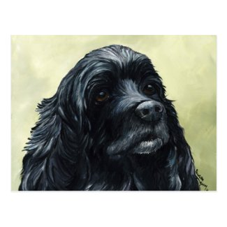 Black Cocker Spaniel Original Dog Art Postcard