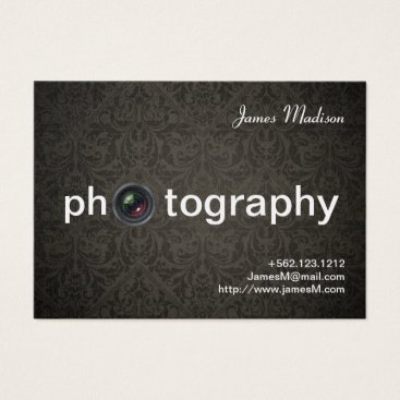 Black Damask on Pearl Photogrpahy Business Cards