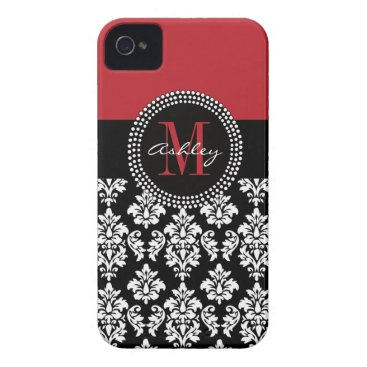 Black Damask Red Initial Name iPhone 4 Cover