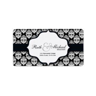 Black Damask Wedding Labels
