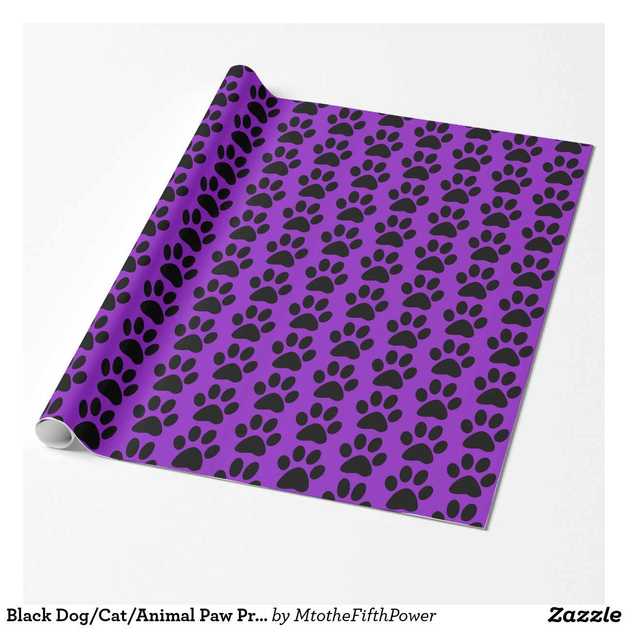Black Dog Cat Animal Paw Prints Purple Wrapping Paper Zazzle
