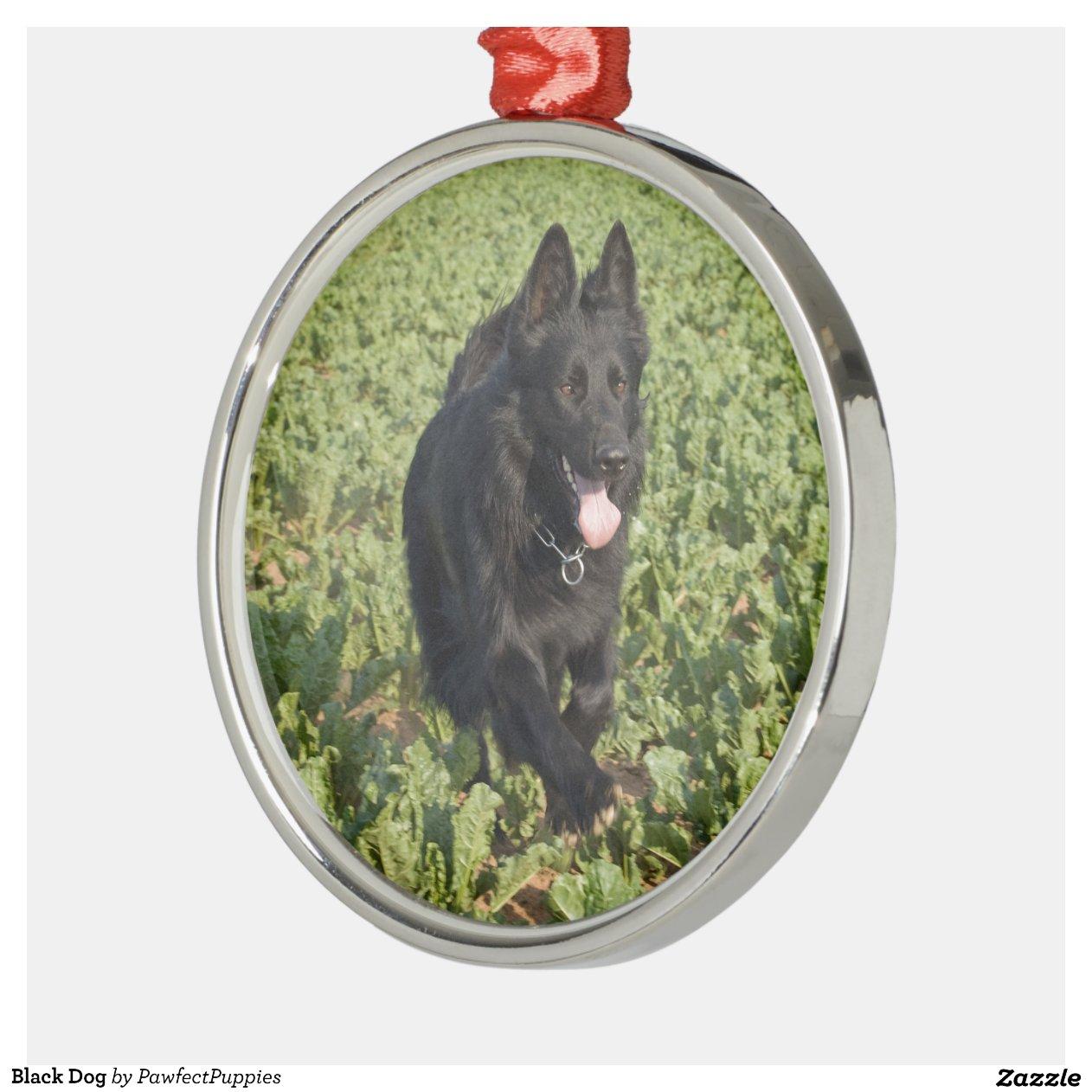 Black Dog Metal Christmas Ornament Zazzle