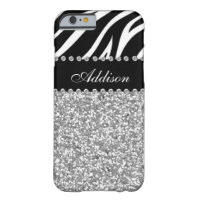 Black Glitter Zebra Rhinestone Girly Case Barely There iPhone 6 Case