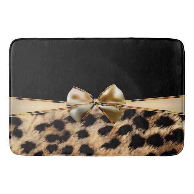 Black Gold Bow Leopard Cheetah Animal Print Bathroom Mat Zazzle Com
