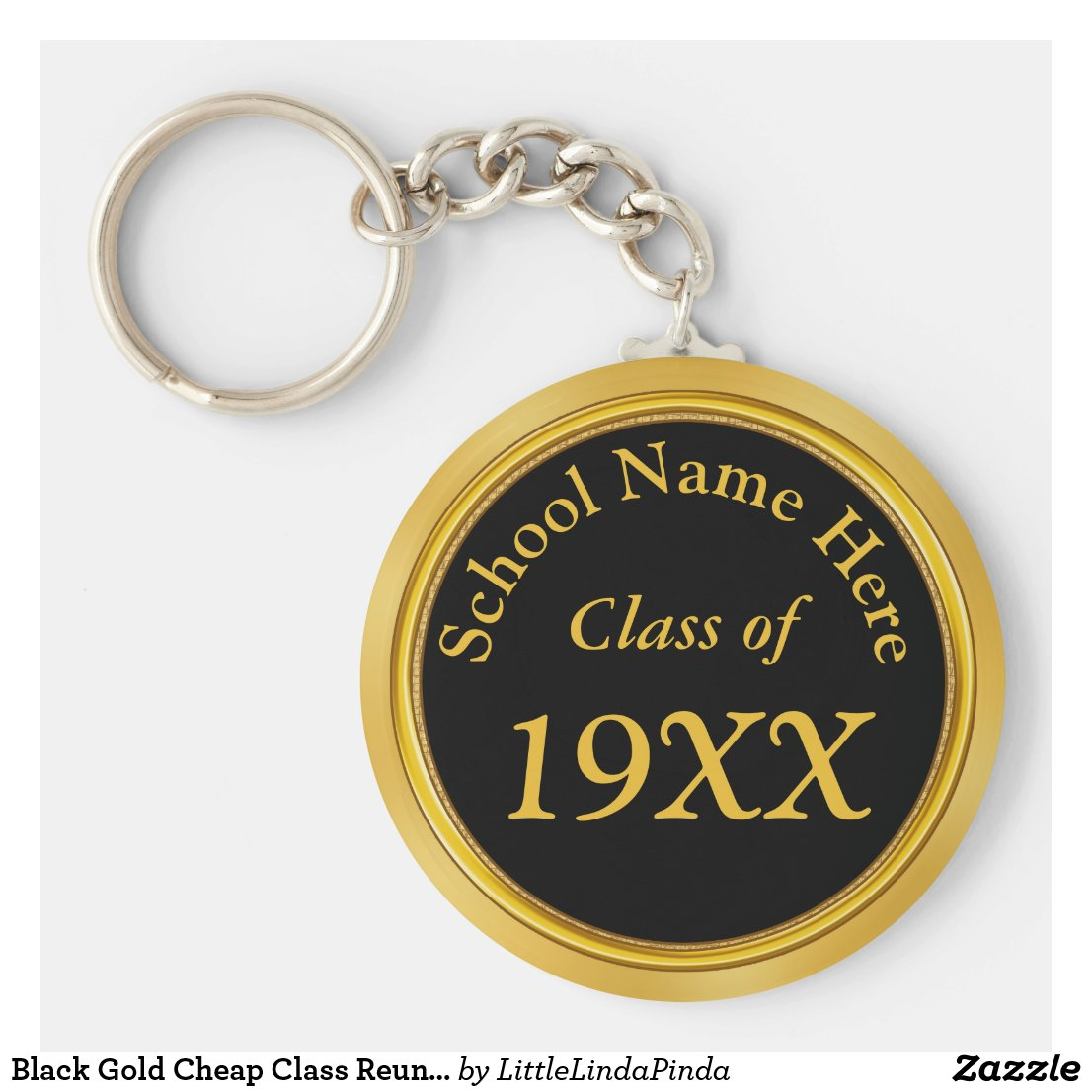 Black Gold Cheap Class Reunion Favors Personalized Keychain