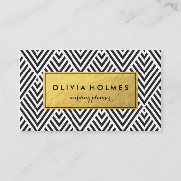 Black & Gold Chevron Pattern Business Card