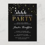 Black & Gold Confetti Shhh... Surprise Party Invitation Postcard