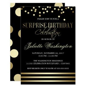 Black Gold Confetti Stripe Surprise Birthday Party Invitation