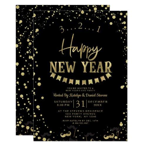 Black & Gold Foil Confetti New Year's Eve Party Invitation