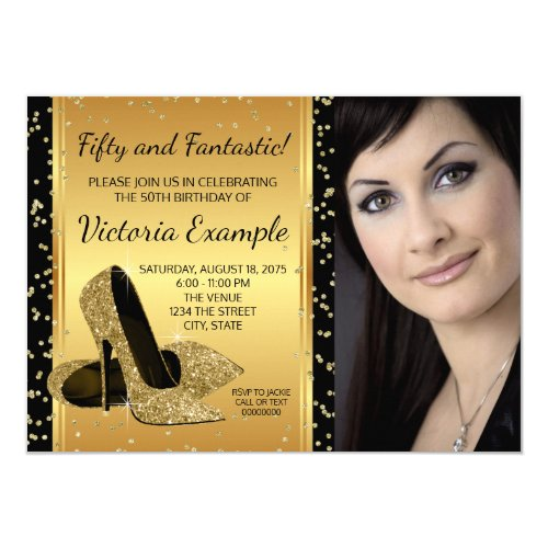 Black Gold High Heel Shoes Birthday Party Card