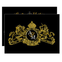 Black Gold Lion Unicorn Regal Emblem Wedding Card