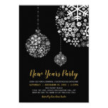 Black & Gold Modern New Years Eve Party Invitation