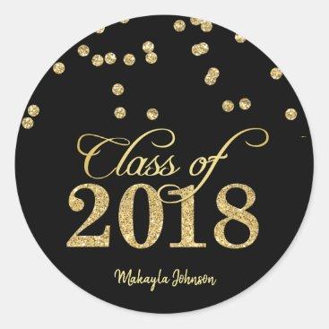 Black & Gold Polka-dots Glitter Class of 2018 Classic Round Sticker