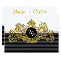 Black Gold White Lion Unicorn Regal Emblem Wedding Card