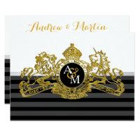 Black Gold White Lion Unicorn Regal Emblem Wedding Card