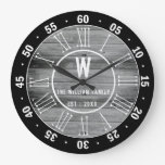 Black Gray Barn Wood  Family Monogram 60 Minutes Large Clock
