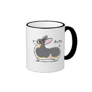 Black-headed Tri Pembroke Corgi Butt Mug