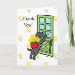 ❤️ Sweet Black Lab with Daffodils Thank You Card